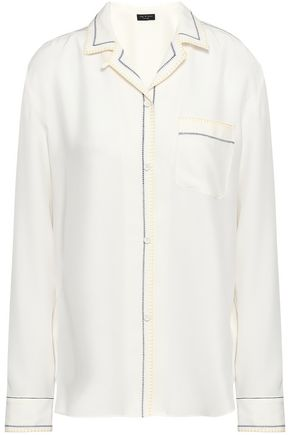 RAG & BONE Embroider-trimmed silk-crepe shirt