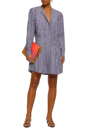 ANINE BING Striped cotton-poplin mini shirt dress