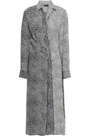 RAG & BONE Paneled printed silk midi shirt dress