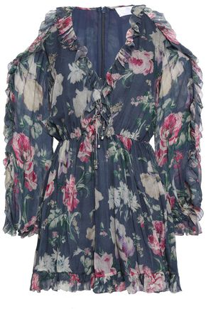 ZIMMERMANN Iris cold-shoulder floral-print silk-georgette playsuit