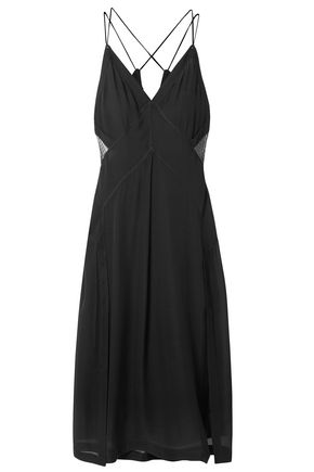 RAG & BONE Anais tulle-paneled silk-georgette midi dress