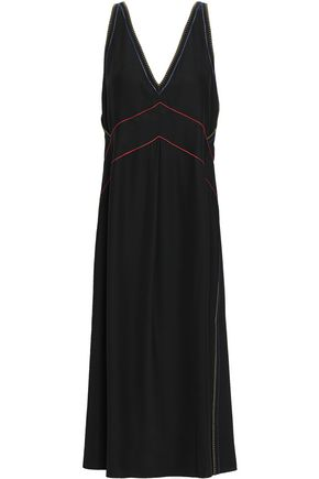 RAG & BONE Embroidered silk-satin midi dress