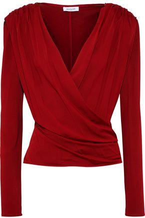 MUGLER Wrap-effect embellished stretch-jersey top