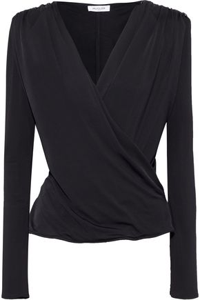 MUGLER Wrap-effect embellished stretch-jersey top