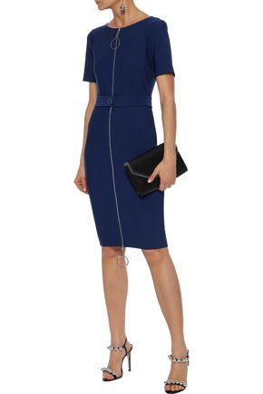 MUGLER Zip-detailed belted stretch-knit mini dress