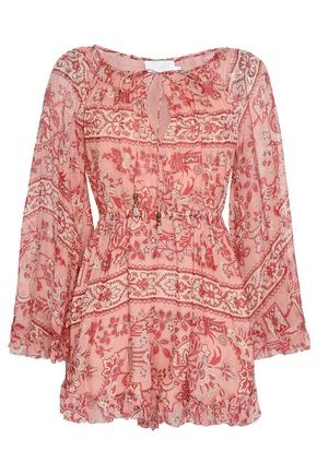 ZIMMERMANN Printed silk-georgette playsuit