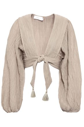 ZIMMERMANN Cropped tasseled crinkled gauze top
