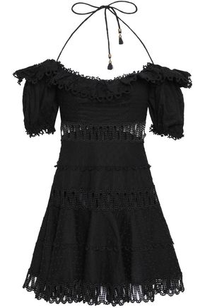ZIMMERMANN Cutout Swiss-dot linen and cotton-blend mini dress
