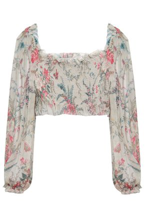 ZIMMERMANN Cropped shirred floral-print silk-georgette top