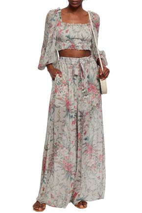 ZIMMERMANN Cropped shirred floral-print silk-georgette top