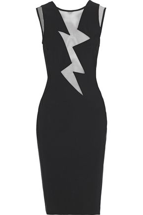 MUGLER Tulle-paneled cady dress