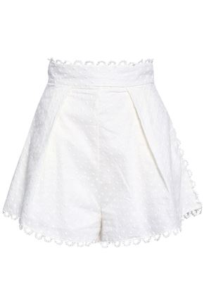 ZIMMERMANN Melody embroidered linen and cotton-blend shorts