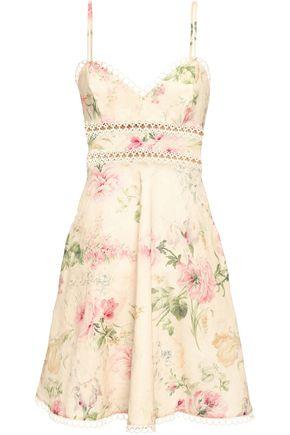 ZIMMERMANN Floral-print linen and cotton-blend mini dress