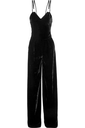 MUGLER Ring-embellished velvet jumpsuit