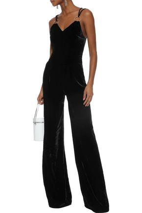 MUGLER Ring-embellished velvet jumpsuit