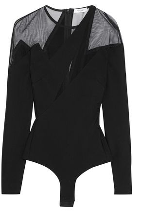MUGLER Tulle-paneled stretch-knit bodysuit