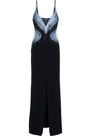 MUGLER Organza-paneled sequin-embellished cady gown