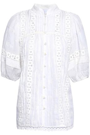ZIMMERMANN Embroidered cotton-gauze blouse