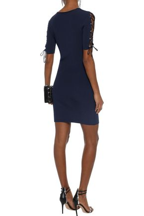 MUGLER Lace-up ribbed-knit mini dress