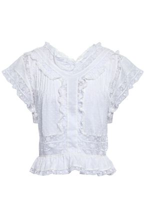 ZIMMERMANN Crochet-trimmed polka-dot cotton top