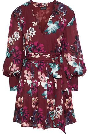 NICHOLAS Wrap-effect floral-print silk-georgette mini dress