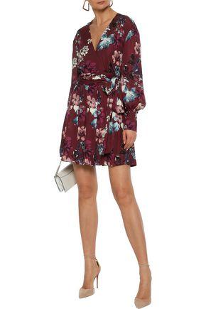 NICHOLAS Wrap-effect floral-print silk-georgette mini dress