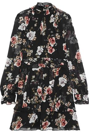 NICHOLAS Layered button-detailed floral-print silk-georgette mini dress