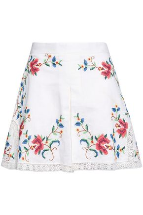 ZIMMERMANN Embroidered linen and cotton-blend shorts