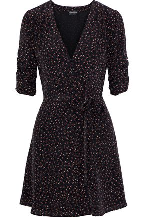 NICHOLAS Ruched floral-print silk crepe de chine mini dress