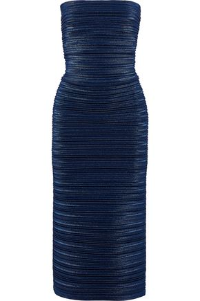 MUGLER Strapless plissé-lamé midi dress