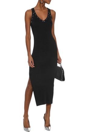 MUGLER Embellished ribbed-knit midi dress