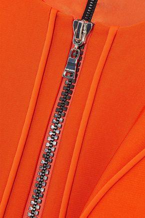 MUGLER Cold-shoulder belted cady mini dress