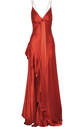 NICHOLAS Tie-front ruffled silk-charmeuse gown