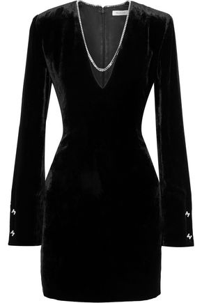 MUGLER Chain-trimmed velvet mini dress