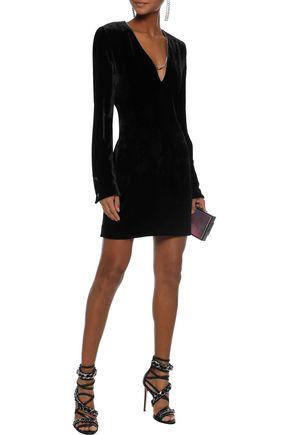 MUGLER Chain-trimmed velvet mini dress