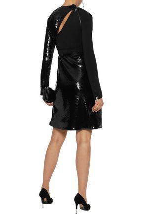 MUGLER Cutout sequin-embellished satin-crepe mini dress