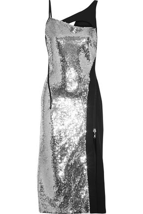 MUGLER Asymmetric cutout sequin-embellished crepe dress