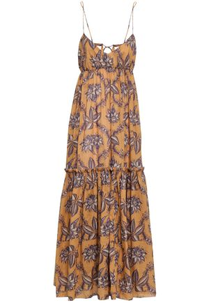 ZIMMERMANN Tiered printed cotton maxi dress