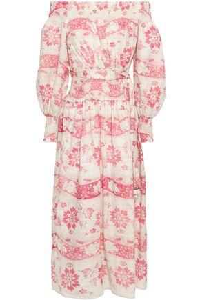 ZIMMERMANN Off-the-shoulder printed linen-gauze midi dress