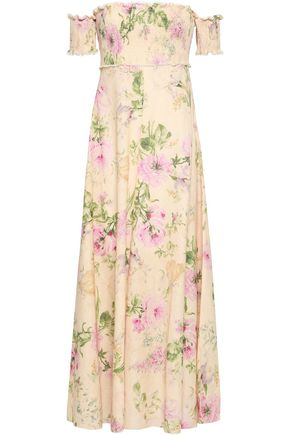 ZIMMERMANN Off-the-shoulder floral-print linen and cotton-blend maxi dress