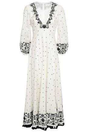 ZIMMERMANN Embroidered linen-gauze maxi dress