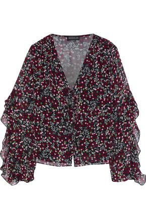 NICHOLAS Bow-detailed ruffle-trimmed floral-print silk-georgette blouse