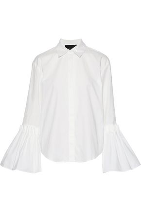 NICHOLAS Pleated cotton-poplin shirt