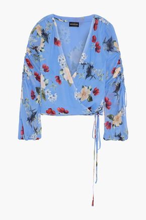 NICHOLAS Ruched floral-print silk-georgette wrap top