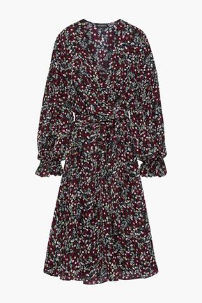 NICHOLAS Mini Daisy wrap-effect floral-print silk dress