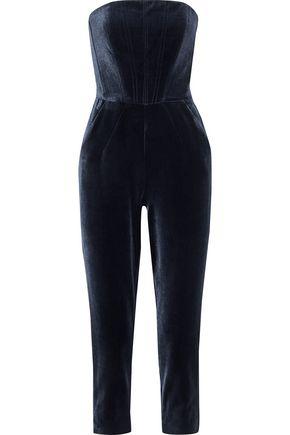 NICHOLAS Strapless cropped velvet jumpsuit