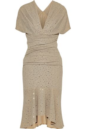 TALBOT RUNHOF Mohanda sequin-embellished metallic cloqué dress