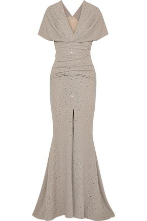 TALBOT RUNHOF Montano split-front sequin-embellished stretch-cloqué gown