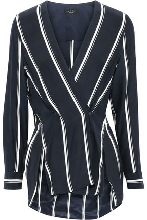 RAG & BONE Debbie striped washed-silk wrap top