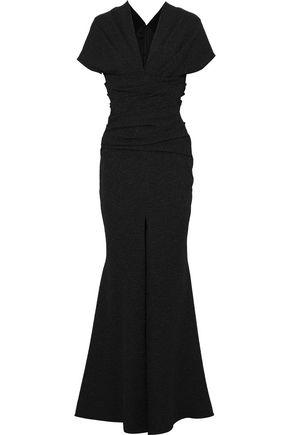 TALBOT RUNHOF Montano split-front stretch-cloqué gown
